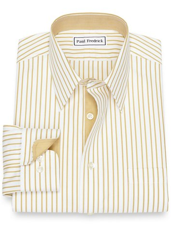 5364582435b Non-Iron Cotton Pinpoint Stripe Dress Shirt with Contrast Trim