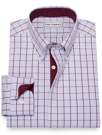 488dd97483ad6 Non-Iron Cotton Pinpoint Windowpane Dress Shirt with Contrast Trim