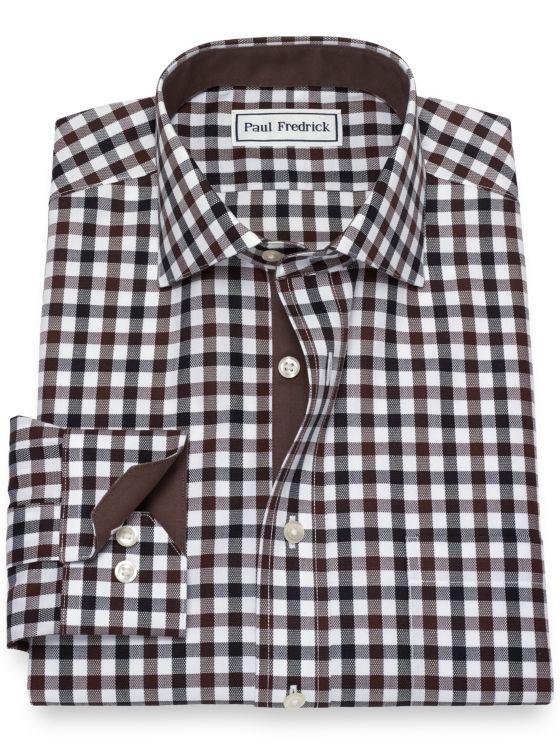 02ab4733 Non-Iron Cotton Gingham Dress Shirt with Contrast Trim | Paul Fredrick