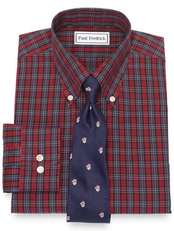 2c63f884c Non-Iron Cotton Pinpoint Tartan Dress Shirt