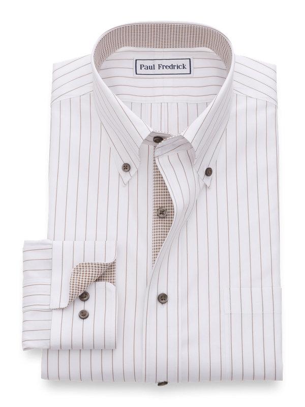 Paul Fredrick Mens Classic Fit Non-Iron Cotton Stripe Dress Shirt