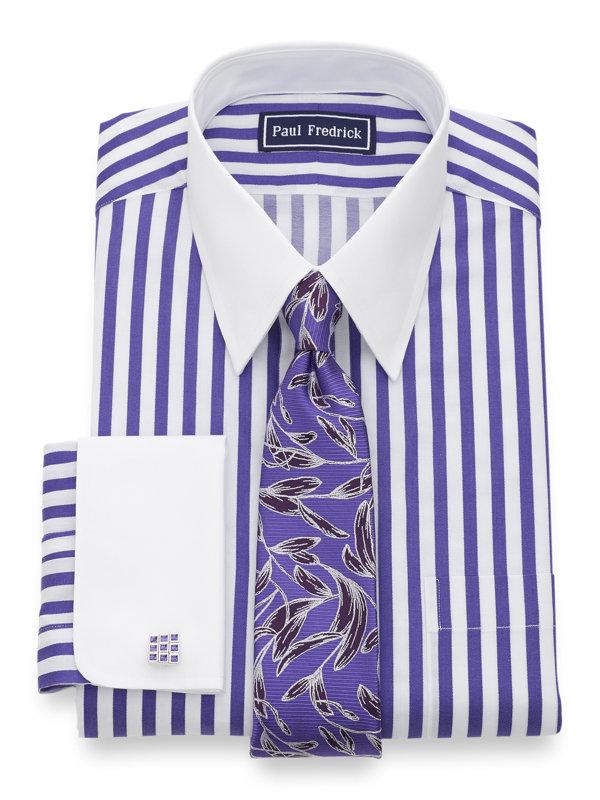 Paul Fredrick Mens Slim Fit Cotton Satin Stripe Button Cuff Dress Shirt