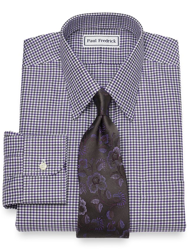 Slim fit non iron cotton houndstooth dress shirt paul for Slim fit non iron dress shirts