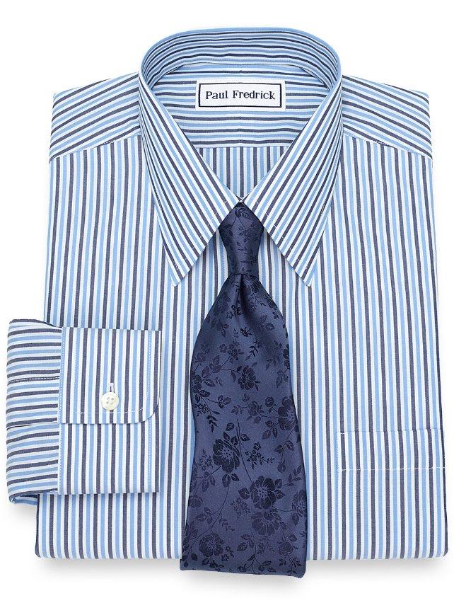 Non Iron Supima Cotton Alternating Stripe Dress Shirt