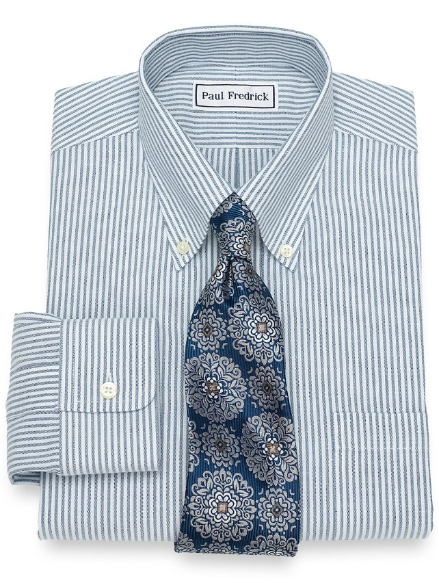Non Iron Supima Cotton Textured Bengal Stripe Dress Shirt