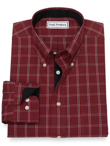 659b227ec Non-Iron Cotton Pinpoint Windowpane Dress Shirt with Contrast Trim