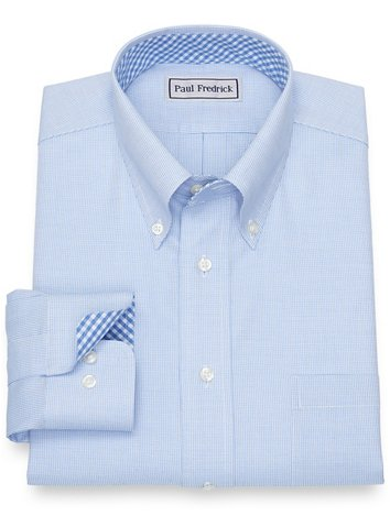 a4584f0d Impeccable Non-Iron Cotton Broadcloth Dress Shirt with Contrast Trim