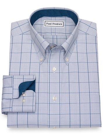 e4610add2789e Non-Iron Cotton Pinpoint Glen Plaid Dress Shirt with Contrast Trim