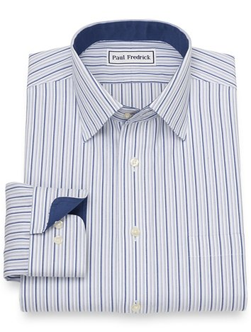 e04e92c91922 Non-Iron Cotton Pinpoint Stripe Dress Shirt with Contrast Trim