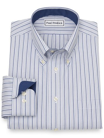 0ca2906a Non-Iron Cotton Pinpoint Stripe Dress Shirt with Contrast Trim