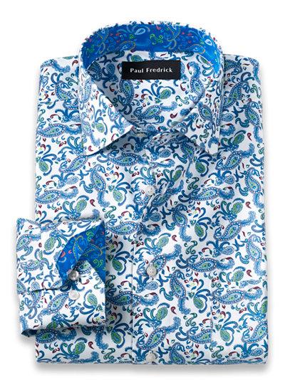 Paul Fredrick Mens Slim Fit Pinpoint Spread Collar Dress Shirt