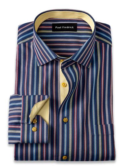 Paul Fredrick Mens Tailored Fit Non-Iron Cotton Windowpane Dress Shirt