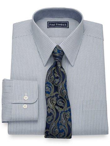 f02e8b5f Pure Cotton Alternating Stripes Dress Shirt with Contrast Trim
