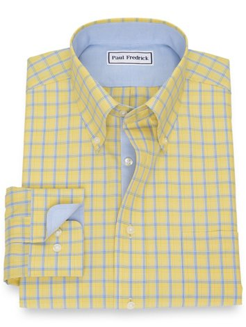 bc79079b4 Non-Iron Cotton Broadcloth Grid Dress Shirt with Contrast Trim