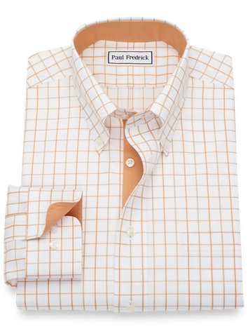 fd8529625f6 Non-Iron Cotton Pinpoint Grid Dress Shirt with Contrast Trim
