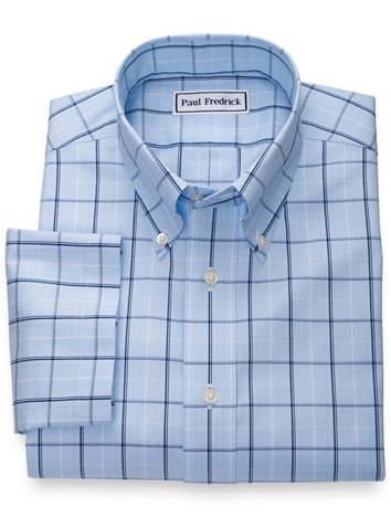 Men's Clothing Symbol Of The Brand Slim Fit Blue Plaid Herringbone Spread Collar Wrinkle Freee Cotton Dress Shirt