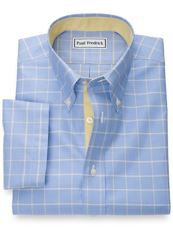 eadfaee1 Non-Iron Pure Cotton Glen Plaid Short Sleeve Shirt with Contrast Trim