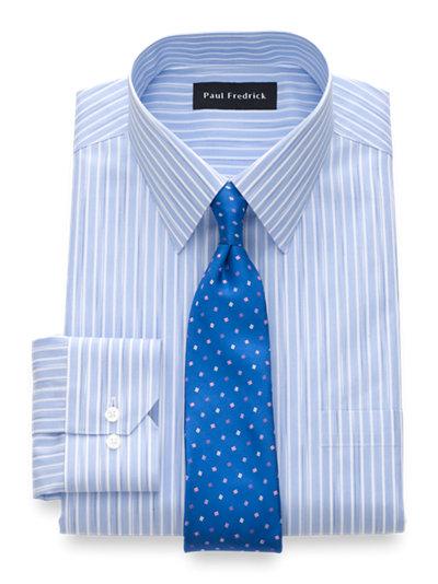Paul Fredrick Mens Slim Fit Non-Iron Cotton Button Down Collar Dress Shirt Pink 16.5//32