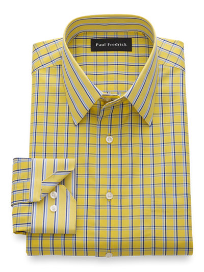 Paul Fredrick Mens Cotton Satin Grid Button Cuff Dress Shirt
