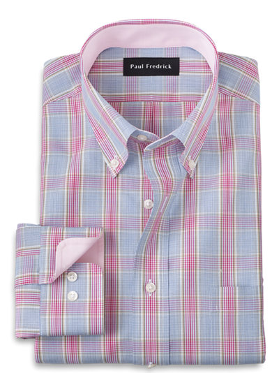 Paul Fredrick Mens Tailored Fit Non-Iron Cotton Check Button Down Dress Shirt