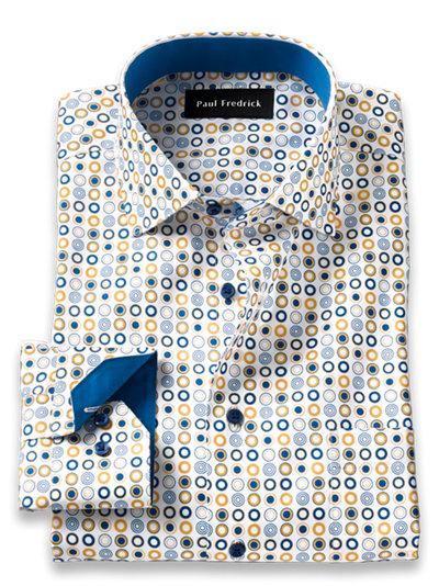 Paul Fredrick Mens Classic Fit Non-Iron Cotton Deco Print Dress Shirt
