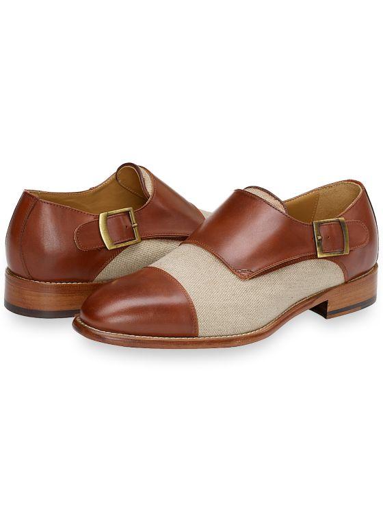 60s Mens Shoes   70s Mens shoes – Platforms, Boots Marlon Cap Toe Monk Strap $259.50 AT vintagedancer.com