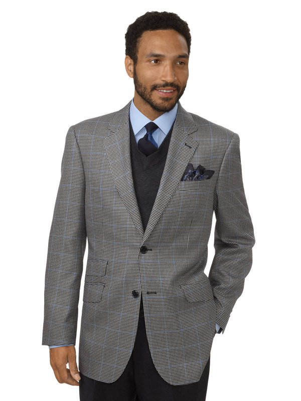 3c3c88138a Classic Fit Check with Windowpane Silk and Wool Notch Lapel Sport Coat