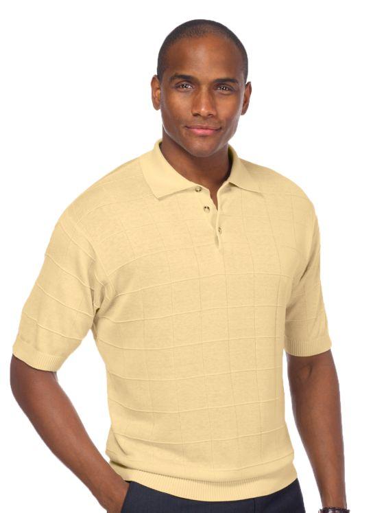 1950s Mens Shirts | Retro Bowling Shirts, Vintage Hawaiian Shirts Silk Grid Pattern Fine Gauge Polo Collar Sweater $69.00 AT vintagedancer.com