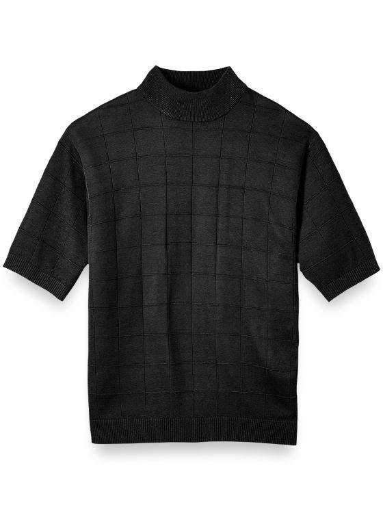 Silk Grid Short Sleeve Mock Neck Sweater Paul Fredrick