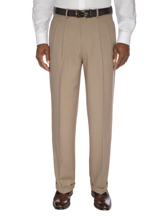1930s Mens High Waisted Pants, Wide Leg Trousers Waist Microfiber Herringbone Pleated Pant $79.00 AT vintagedancer.com