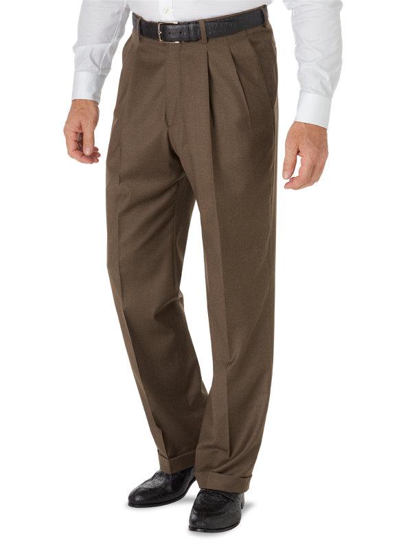PLEATED SLACKS Sizes 32 to 52 Men/'s Trousers BURGUNDY Dress Pants W// BELT