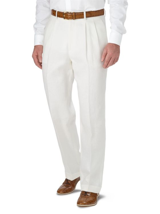 1930s Mens High Waisted Pants, Wide Leg Trousers Linen Pleated Pant $79.00 AT vintagedancer.com