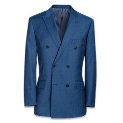 Super 120's Sharkskin Double Breasted Peak Lapel Suit Jacket