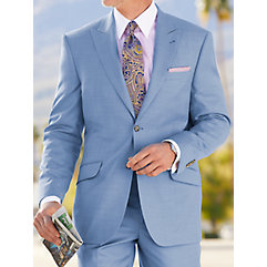 Tailored Fit Super 120's Sharkskin Peak Lapel Suit Jacket