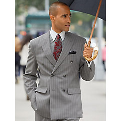 Wool Stripe Double Breasted Peak Lapel Suit Jacket