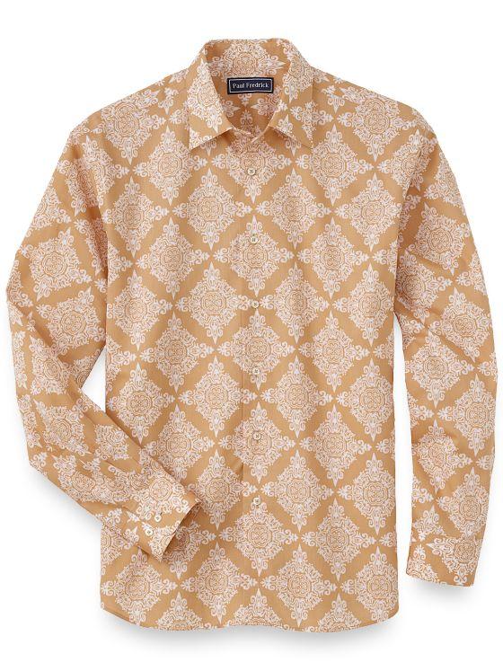 1960s – 70s Mens Shirts- Disco Shirts, Hippie Shirts Cotton Medallion Batik Print Casual Shirt $95.00 AT vintagedancer.com